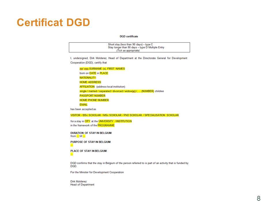 Certificat DGD 8