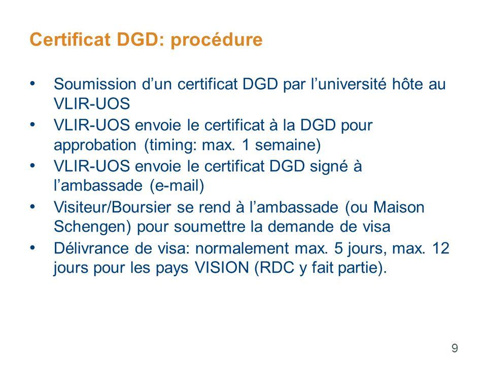 Certificat DGD: procédure Soumission d'un certificat DGD par l'université hôte au VLIR-UOS VLIR-UOS envoie le certificat à la DGD pour approbation (timing: max.