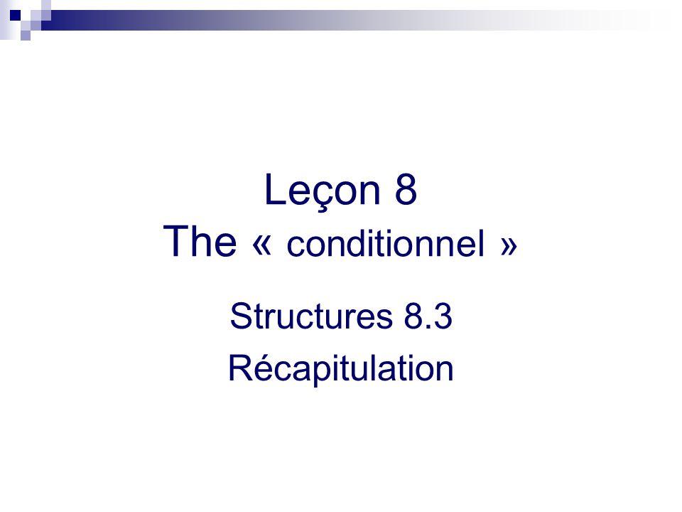Leçon 8 The « conditionnel » Structures 8.3 Récapitulation