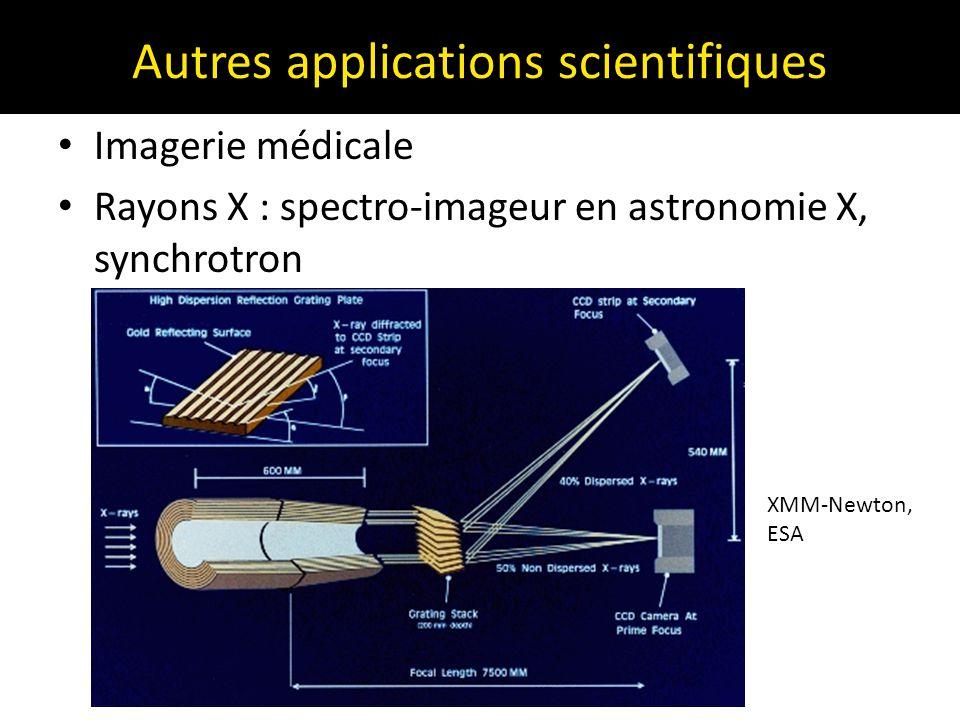 Autres applications scientifiques Imagerie médicale Rayons X : spectro-imageur en astronomie X, synchrotron XMM-Newton, ESA