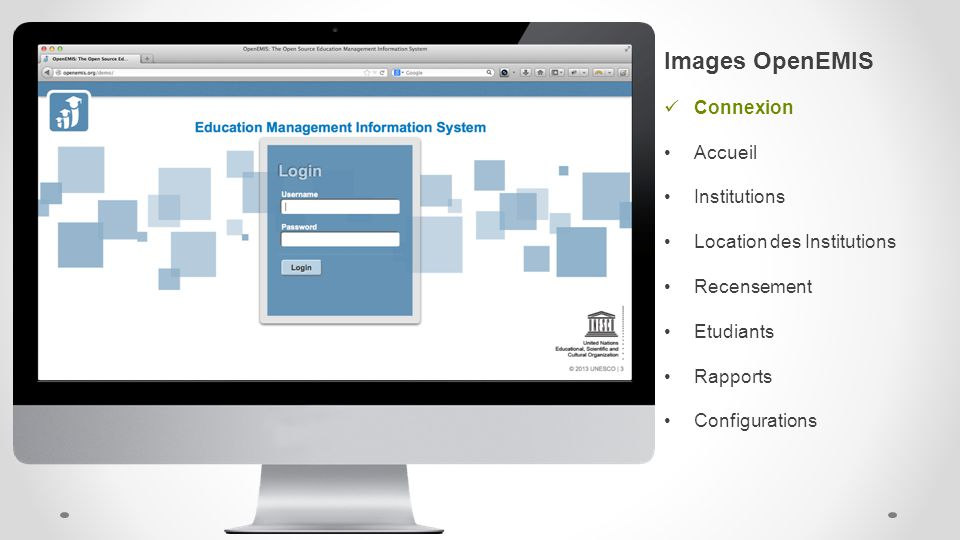 Images OpenEMIS Connexion Accueil Institutions Location des Institutions Recensement Etudiants Rapports Configurations