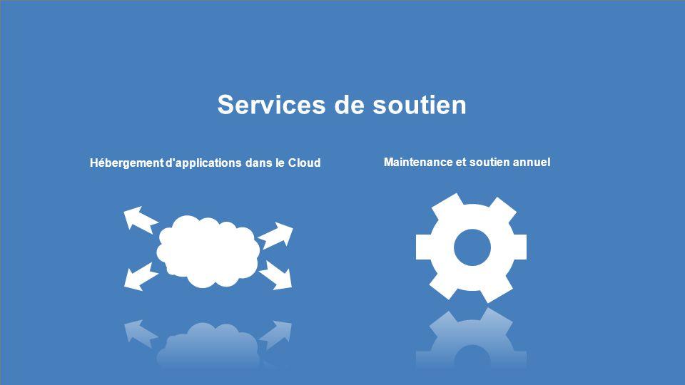 Services de soutien Hébergement d applications dans le Cloud Maintenance et soutien annuel