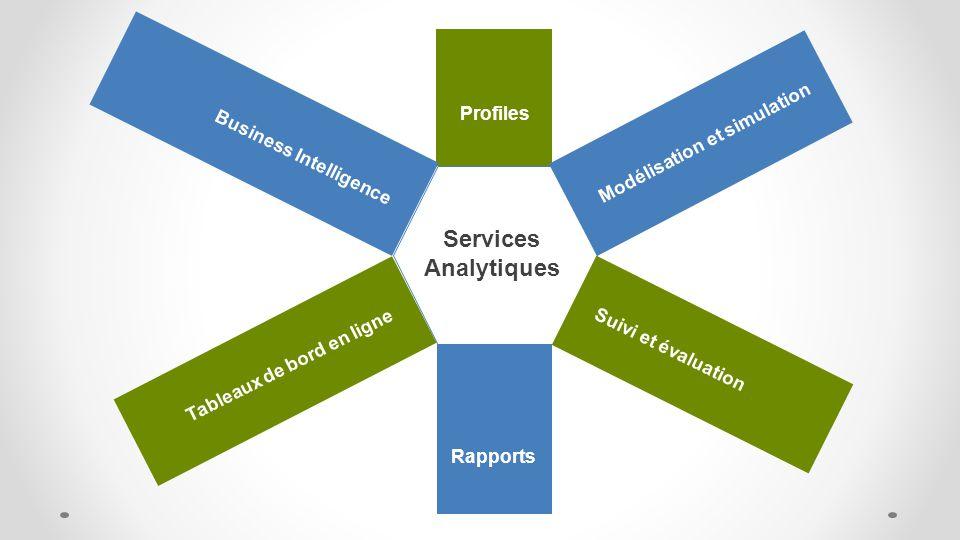 Services Analytiques Profiles Suivi et évaluation Rapports Business Intelligence Tableaux de bord en ligne Modélisation et simulation