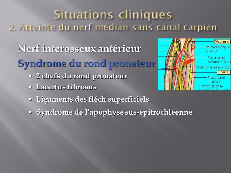 Nerf interosseux antérieur Syndrome du rond pronateur  2 chefs du rond pronateur  Lacertus fibrosus  Ligaments des fléch superficiels  Syndrome de l'apophyse sus-épitrochléenne