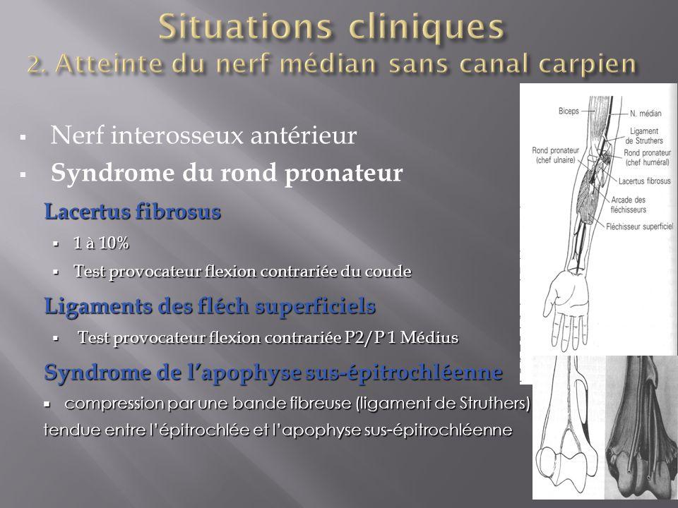  Nerf interosseux antérieur  Syndrome du rond pronateur Lacertus fibrosus  1 à 10%  Test provocateur flexion contrariée du coude Ligaments des fléch superficiels  Test provocateur flexion contrariée P2/P 1 Médius Syndrome de l'apophyse sus-épitrochléenne  compression par une bande fibreuse (ligament de Struthers) tendue entre l'épitrochlée et l'apophyse sus-épitrochléenne tendue entre l'épitrochlée et l'apophyse sus-épitrochléenne