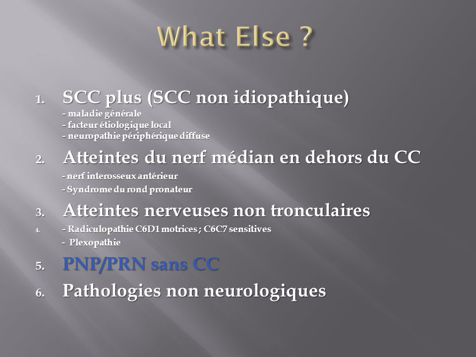 1. SCC plus (SCC non idiopathique) - maladie générale - facteur étiologique local - neuropathie périphérique diffuse 2. Atteintes du nerf médian en de