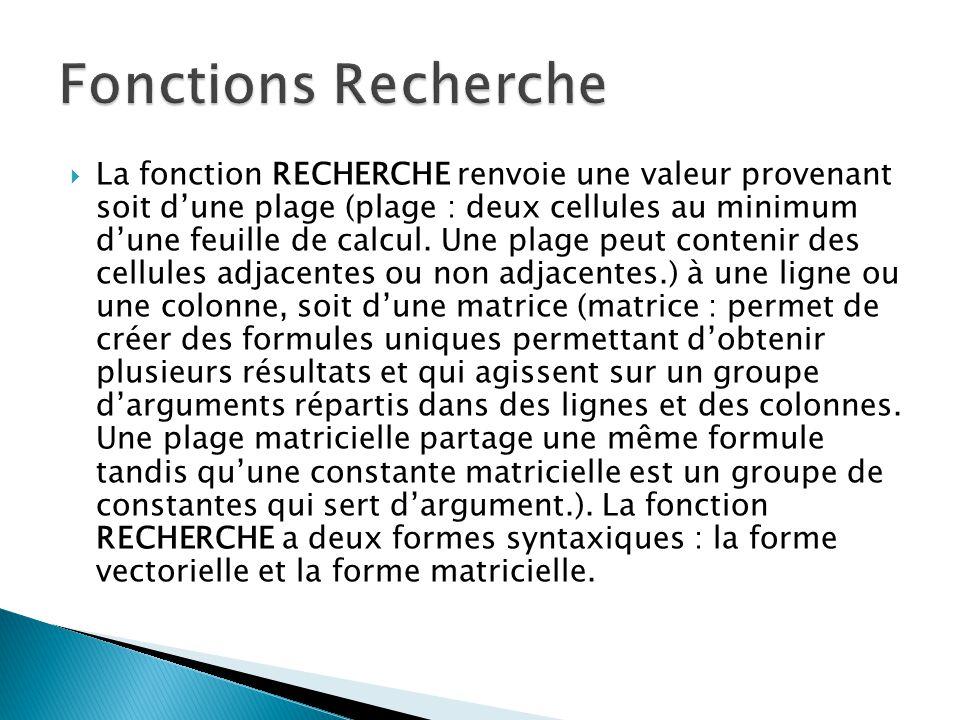 FréquenceCouleur 4,14rouge 4,19orange 5,17jaune 5,77vert 6,39bleu FormuleDescriptionRésultat =RECHERCHE(4,19;A2:A6;B2:B6) Recherche 4,19 dans la colonne A, et renvoie la valeur de la colonne B qui se trouve sur la même ligne.