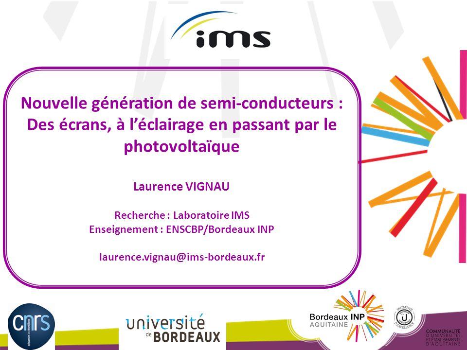 Laurence Vignau – Journée académique udppc – 8 octobre 2014 Conduction dans les semi-conducteurs Conduction par électrons et trous