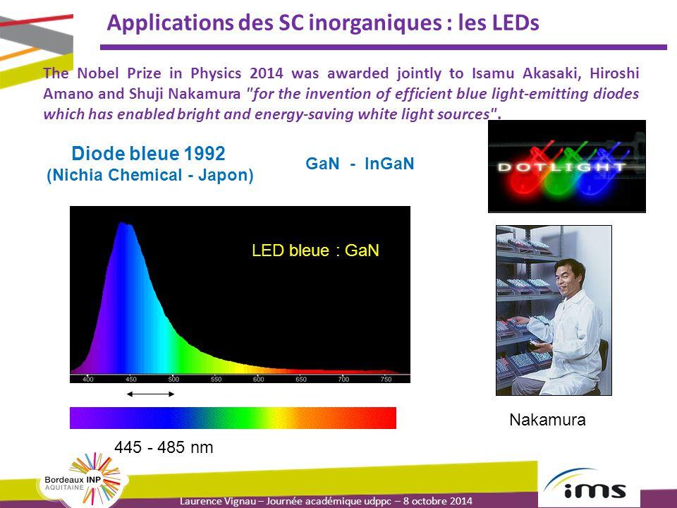 Laurence Vignau – Journée académique udppc – 8 octobre 2014 Applications des SC inorganiques : les LEDs The Nobel Prize in Physics 2014 was awarded jo