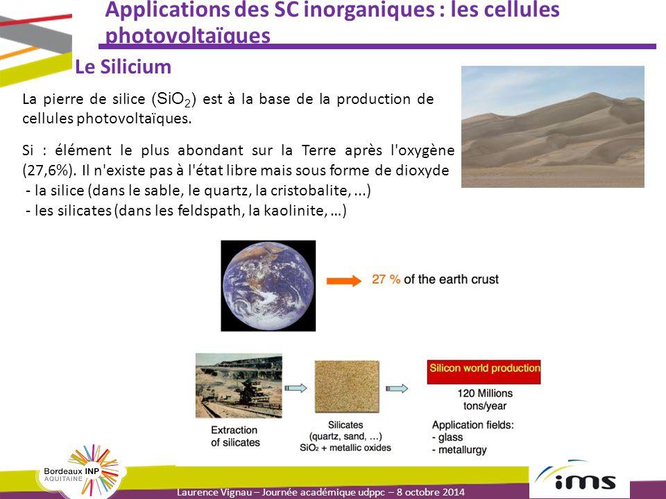 Laurence Vignau – Journée académique udppc – 8 octobre 2014 Applications des SC inorganiques : les cellules photovoltaïques Le Silicium La pierre de silice (SiO 2 ) est à la base de la production de cellules photovoltaïques.