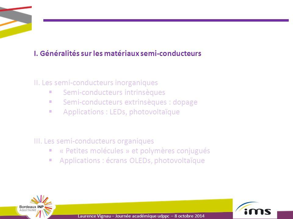 Laurence Vignau – Journée académique udppc – 8 octobre 2014 Applications des SC inorganiques : les cellules photovoltaïques Principe de fonctionnement