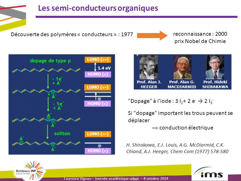 Laurence Vignau – Journée académique udppc – 8 octobre 2014 Les semi-conducteurs organiques Découverte des polymères « conducteurs » : 1977 reconnaiss