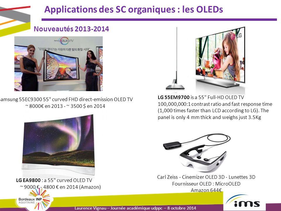 Laurence Vignau – Journée académique udppc – 8 octobre 2014 Applications des SC organiques : les OLEDs Nouveautés 2013-2014 Samsung 55EC9300 55