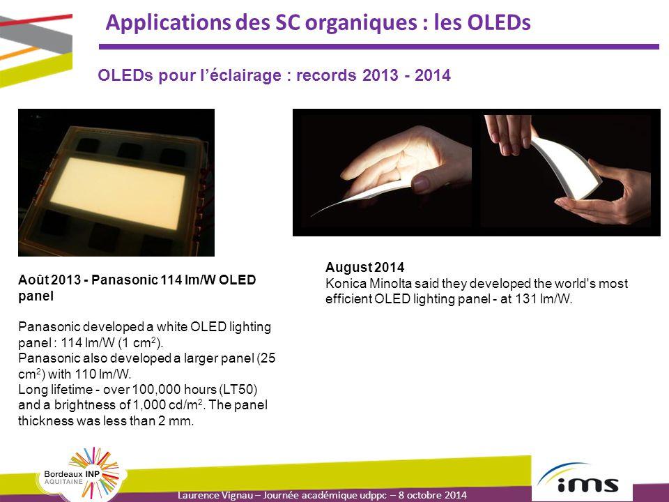 Laurence Vignau – Journée académique udppc – 8 octobre 2014 Applications des SC organiques : les OLEDs Août 2013 - Panasonic 114 lm/W OLED panel Panasonic developed a white OLED lighting panel : 114 lm/W (1 cm 2 ).