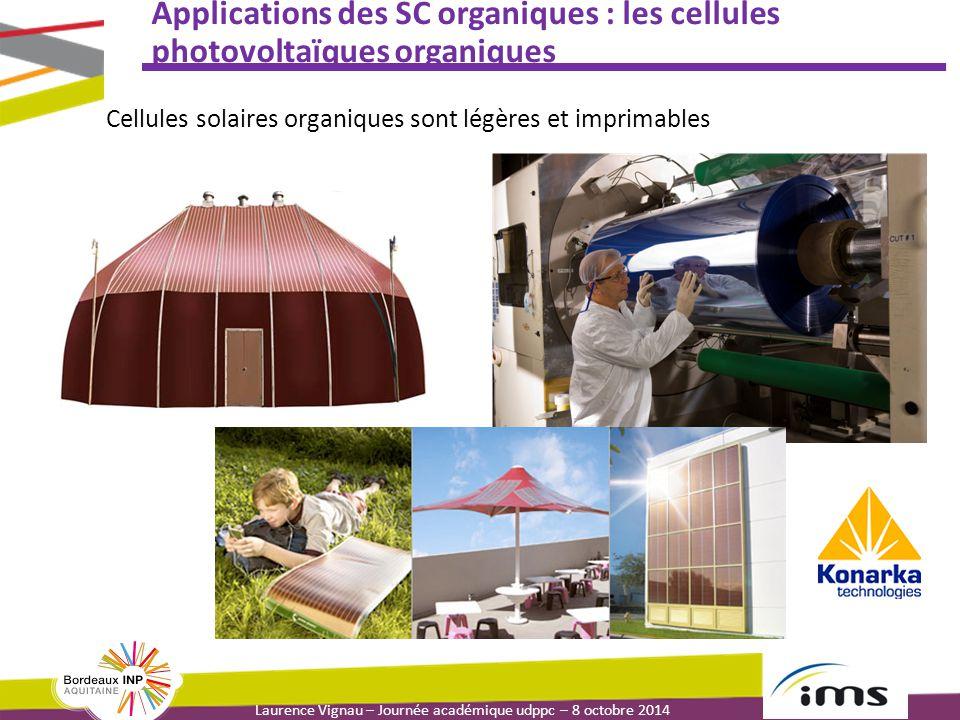 Laurence Vignau – Journée académique udppc – 8 octobre 2014 Applications des SC organiques : les cellules photovoltaïques organiques Cellules solaires organiques sont légères et imprimables