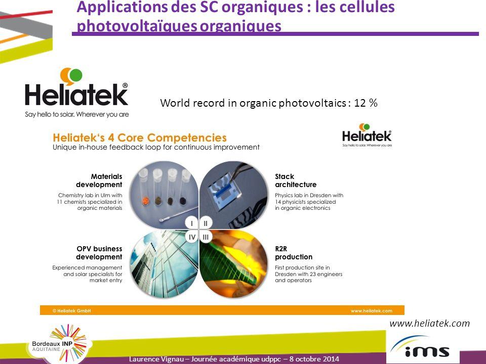 Laurence Vignau – Journée académique udppc – 8 octobre 2014 Applications des SC organiques : les cellules photovoltaïques organiques World record in organic photovoltaics : 12 % www.heliatek.com