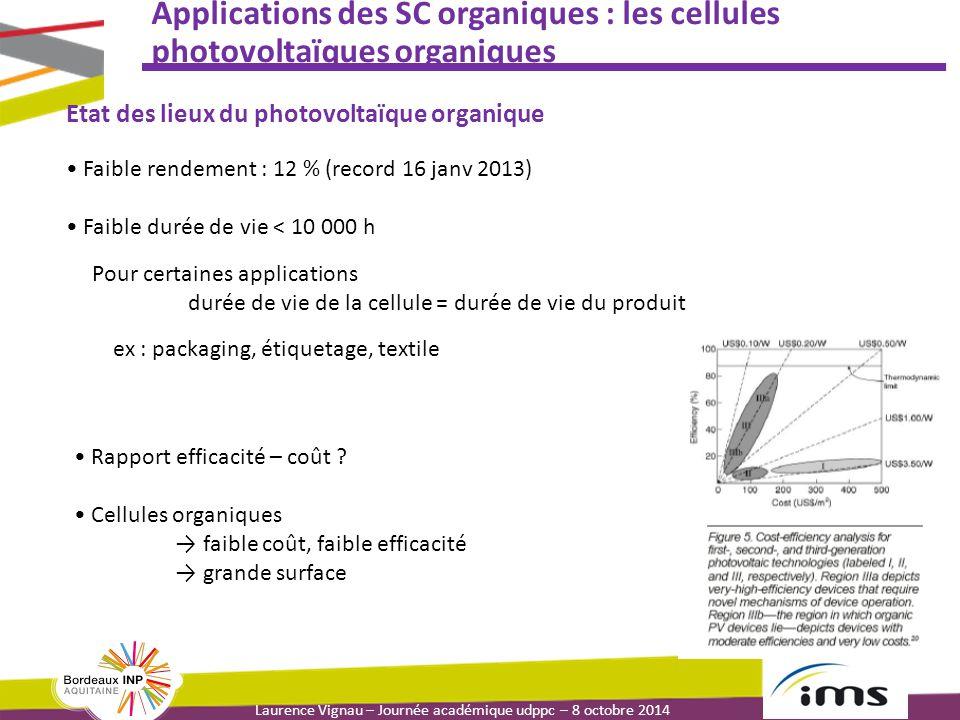 Laurence Vignau – Journée académique udppc – 8 octobre 2014 Applications des SC organiques : les cellules photovoltaïques organiques Pour certaines ap