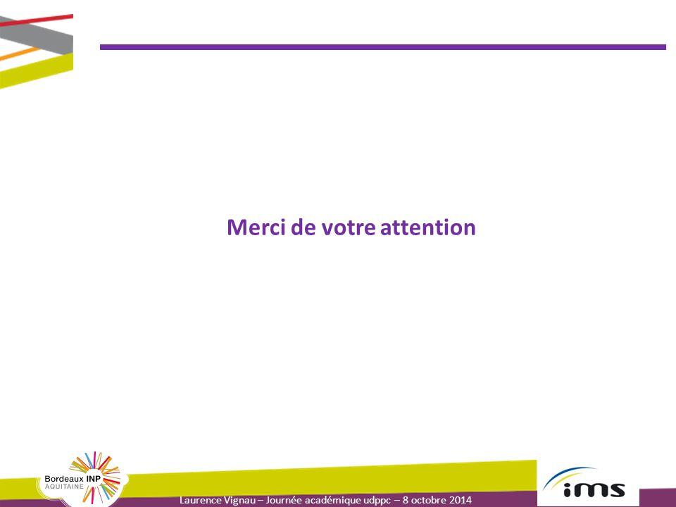 Laurence Vignau – Journée académique udppc – 8 octobre 2014 Merci de votre attention