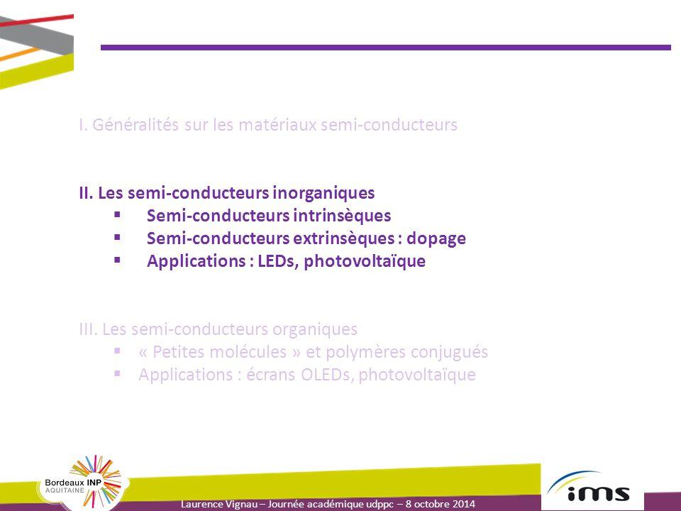 Laurence Vignau – Journée académique udppc – 8 octobre 2014 I. Généralités sur les matériaux semi-conducteurs II. Les semi-conducteurs inorganiques 