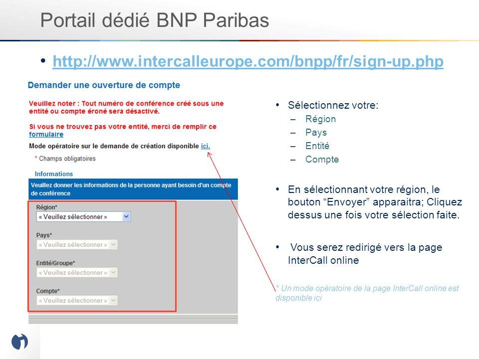 Portail dédié BNP Paribas http://www.intercalleurope.com/bnpp/fr/sign-up.php Sélectionnez votre: –Région –Pays –Entité –Compte En sélectionnant votre région, le bouton Envoyer apparaitra; Cliquez dessus une fois votre sélection faite.