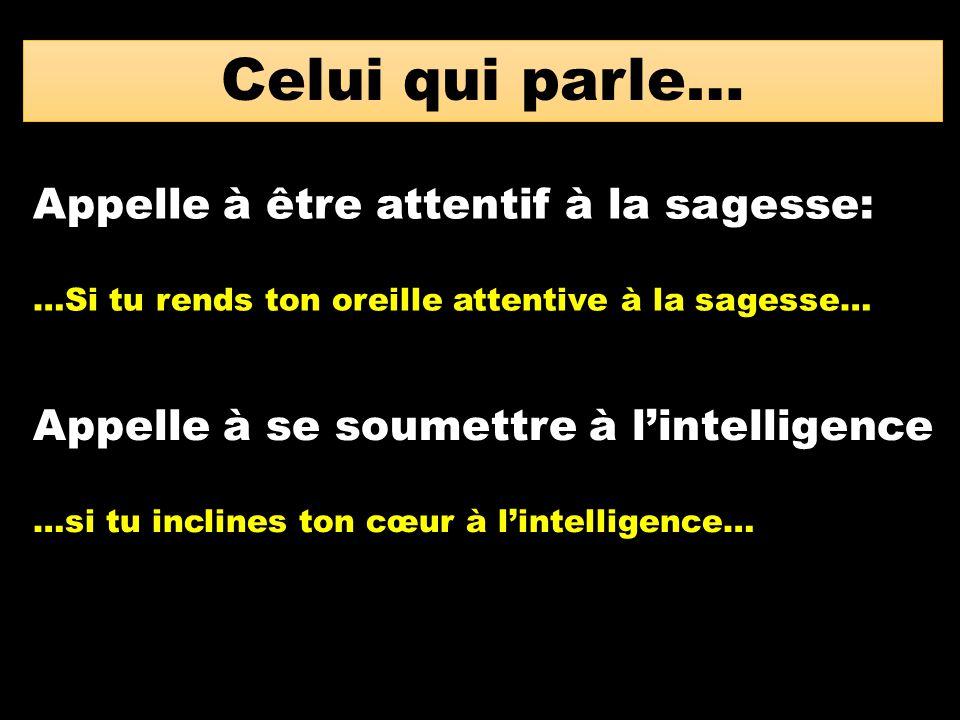 Celui qui parle… Appelle à être attentif à la sagesse: …Si tu rends ton oreille attentive à la sagesse… Appelle à se soumettre à l'intelligence …si tu