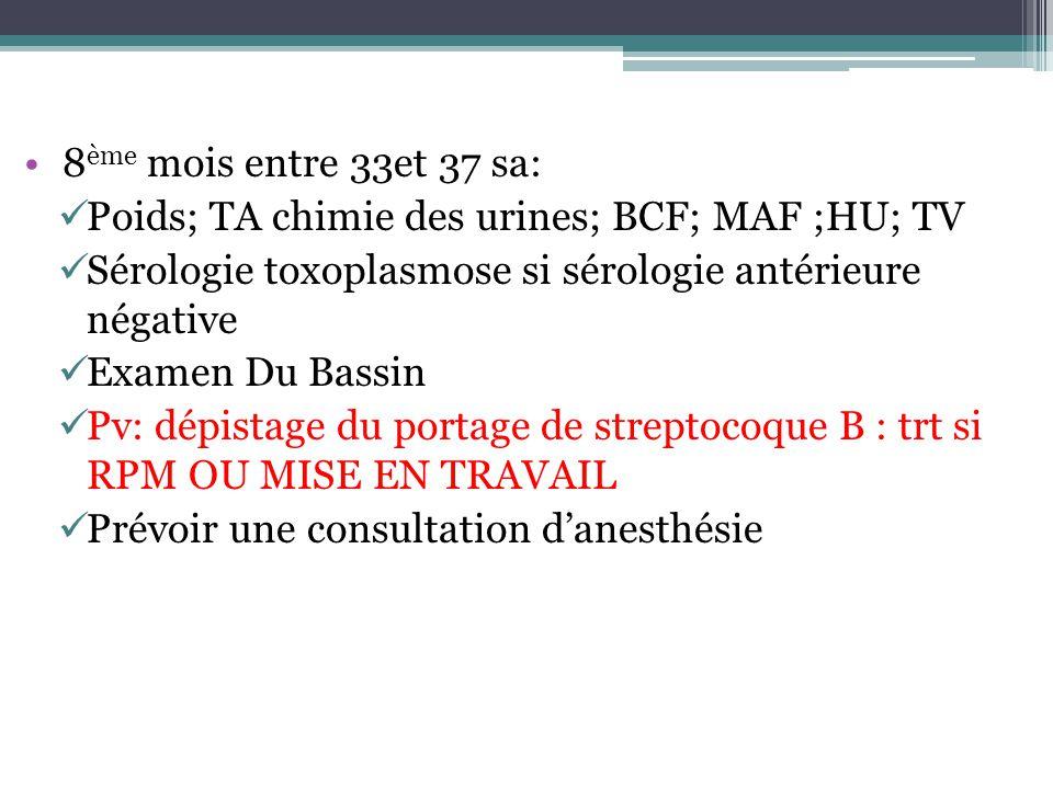 8 ème mois entre 33et 37 sa: Poids; TA chimie des urines; BCF; MAF ;HU; TV Sérologie toxoplasmose si sérologie antérieure négative Examen Du Bassin Pv