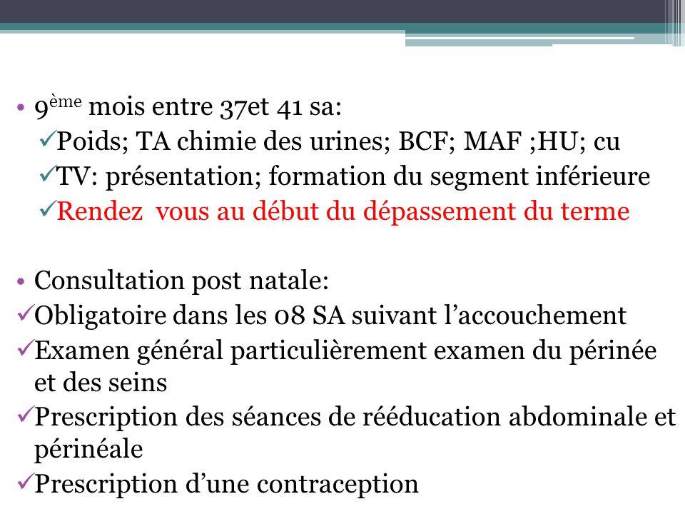 9 ème mois entre 37et 41 sa: Poids; TA chimie des urines; BCF; MAF ;HU; cu TV: présentation; formation du segment inférieure Rendez vous au début du d