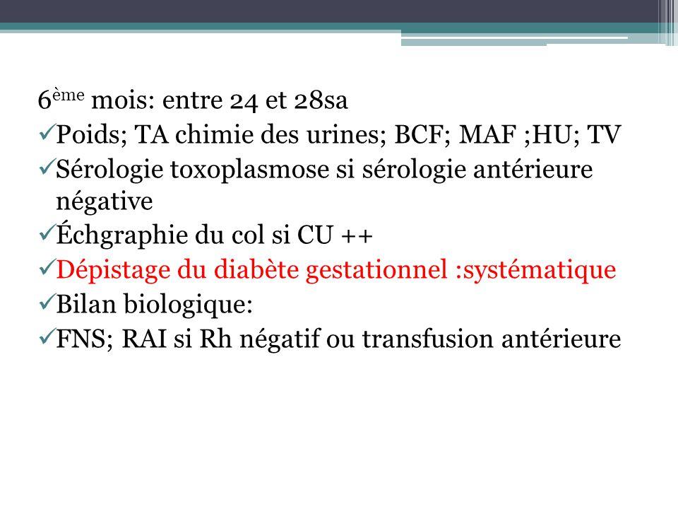 6 ème mois: entre 24 et 28sa Poids; TA chimie des urines; BCF; MAF ;HU; TV Sérologie toxoplasmose si sérologie antérieure négative Échgraphie du col s