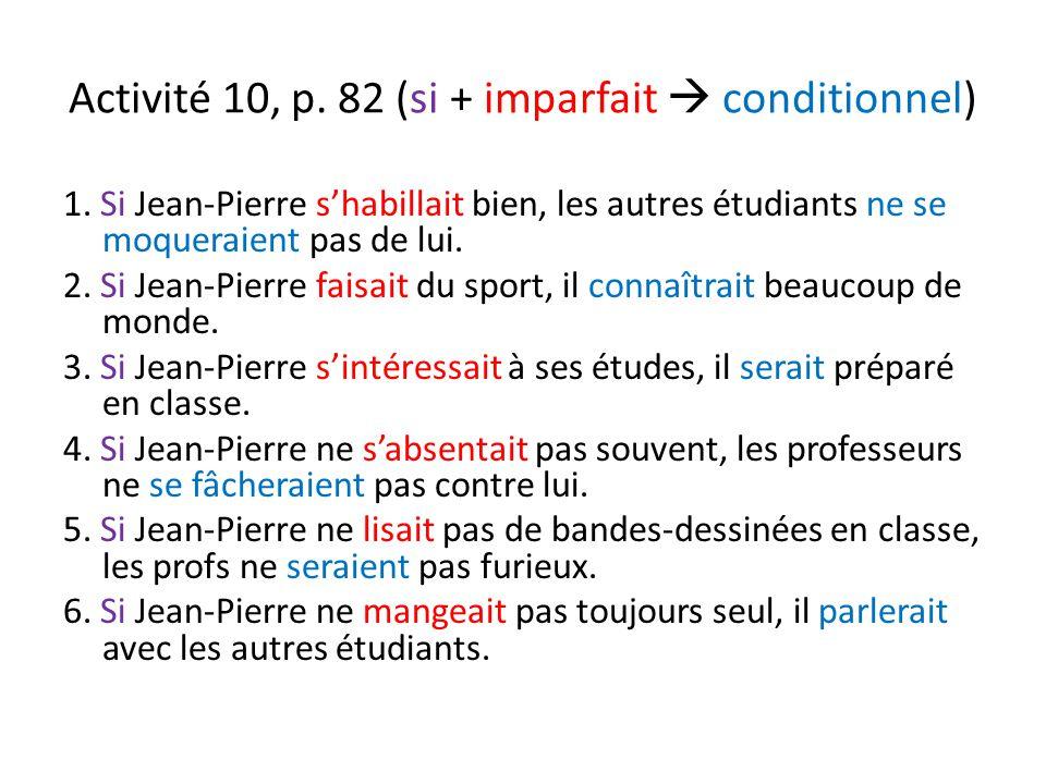 Activité 10, p. 82 (si + imparfait  conditionnel) 1.