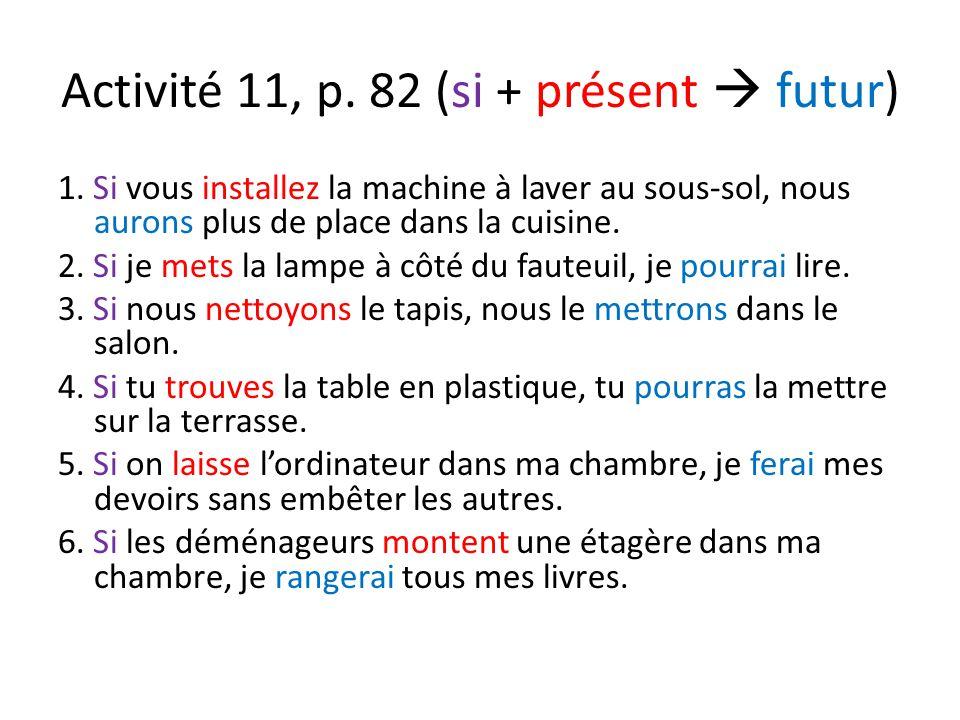 Activité 11, p. 82 (si + présent  futur) 1.