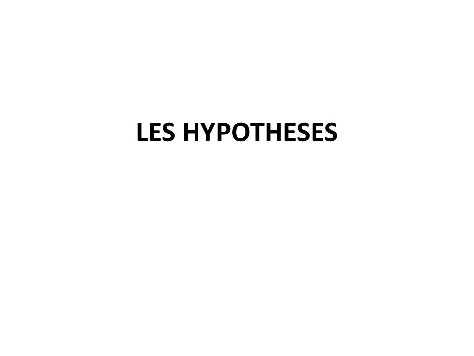 LES HYPOTHESES