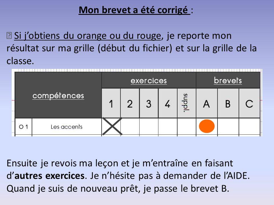 Mon brevet a été corrigé : — Si j'obtiens du orange ou du rouge, je reporte mon résultat sur ma grille (début du fichier) et sur la grille de la class
