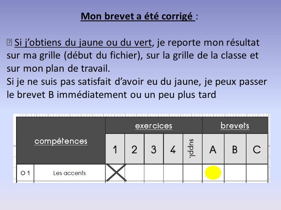 Mon brevet a été corrigé : — Si j'obtiens du jaune ou du vert, je reporte mon résultat sur ma grille (début du fichier), sur la grille de la classe et