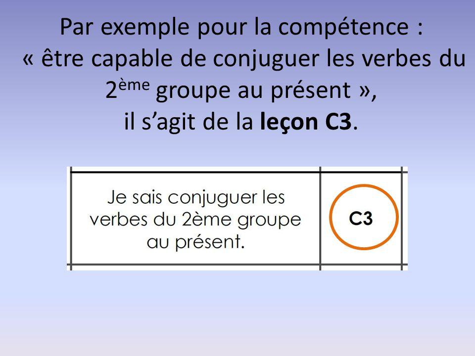 Par exemple pour la compétence : « être capable de conjuguer les verbes du 2 ème groupe au présent », il s'agit de la leçon C3.