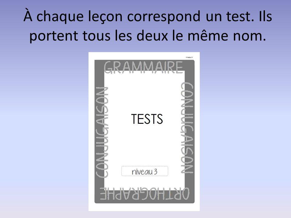 À chaque leçon correspond un test. Ils portent tous les deux le même nom.