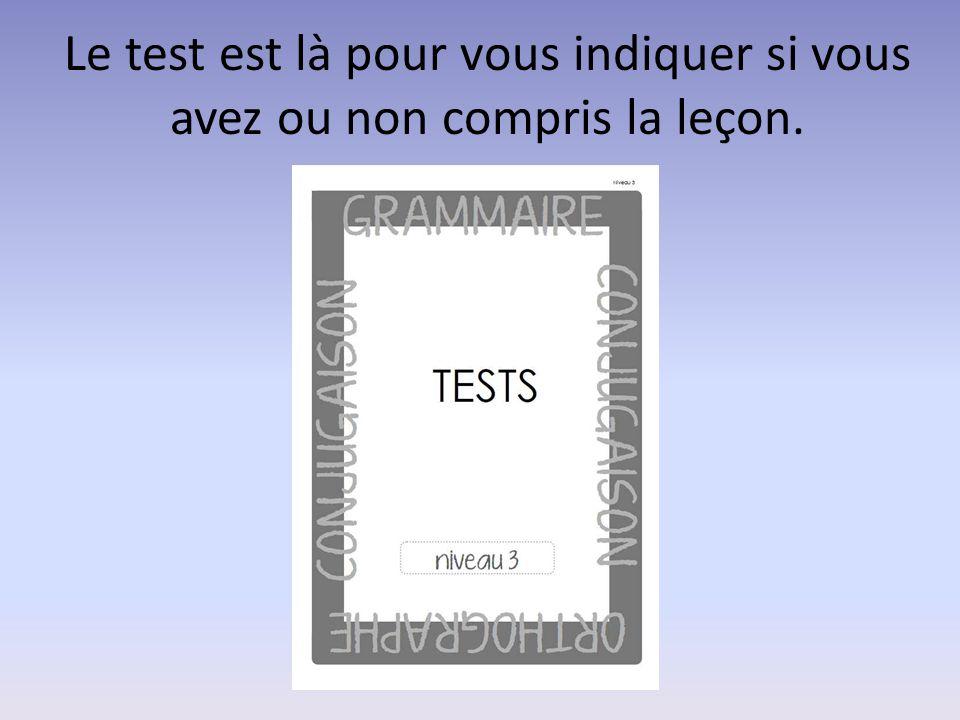 Le test est là pour vous indiquer si vous avez ou non compris la leçon.