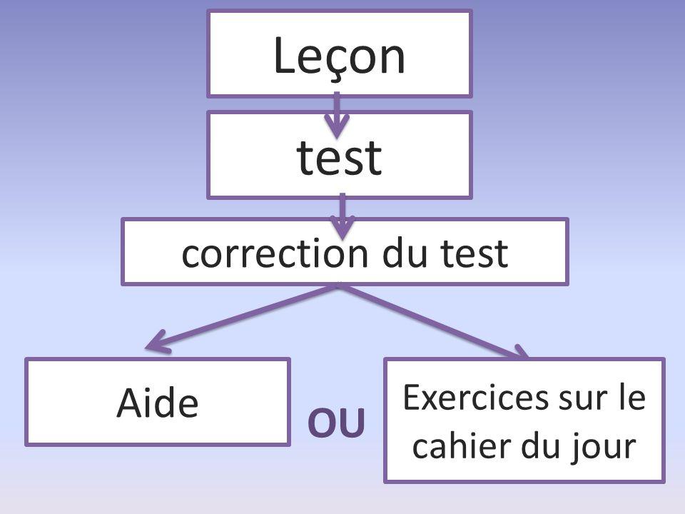 Leçon test correction du test Aide OU Exercices sur le cahier du jour
