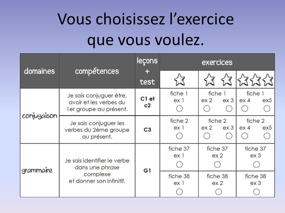 Vous choisissez l'exercice que vous voulez.