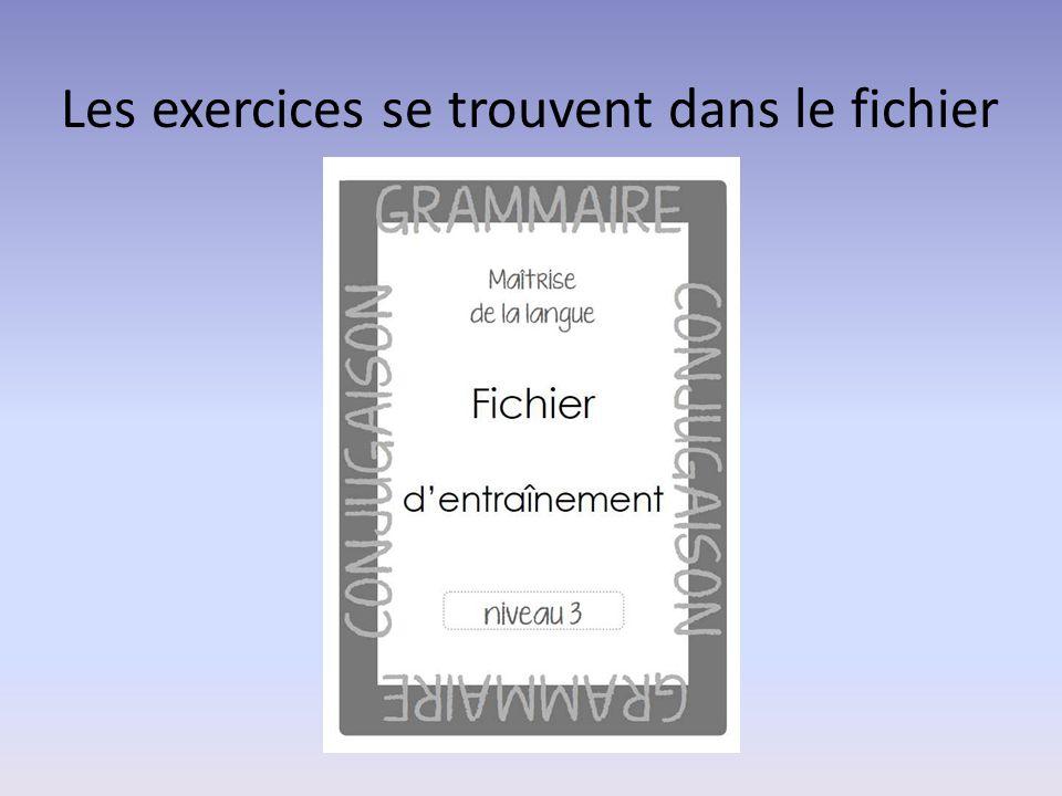 Les exercices se trouvent dans le fichier