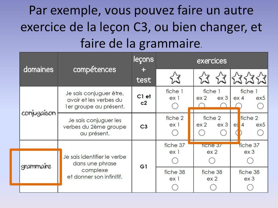 Par exemple, vous pouvez faire un autre exercice de la leçon C3, ou bien changer, et faire de la grammaire.