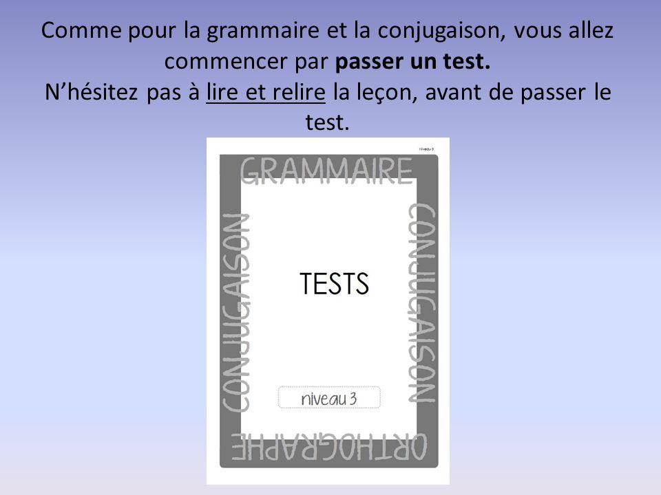 Comme pour la grammaire et la conjugaison, vous allez commencer par passer un test. N'hésitez pas à lire et relire la leçon, avant de passer le test.