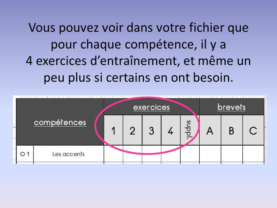 Vous pouvez voir dans votre fichier que pour chaque compétence, il y a 4 exercices d'entraînement, et même un peu plus si certains en ont besoin.