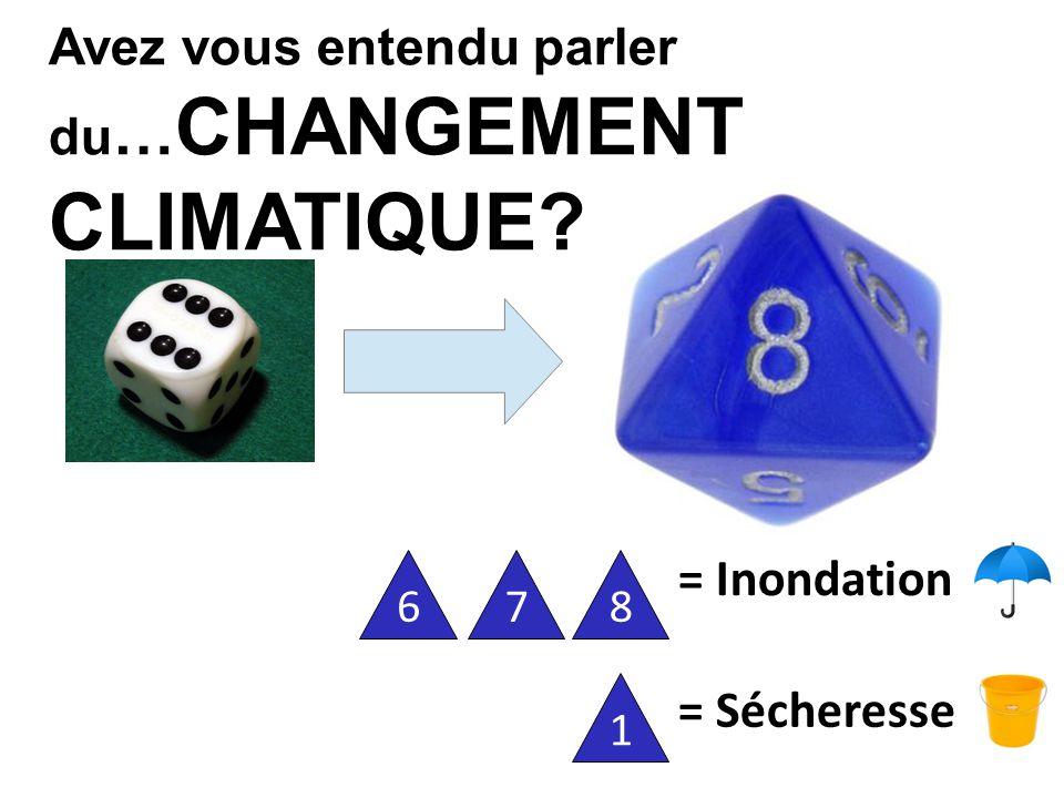 Avez vous entendu parler du … CHANGEMENT CLIMATIQUE = Sécheresse = Inondation 1678