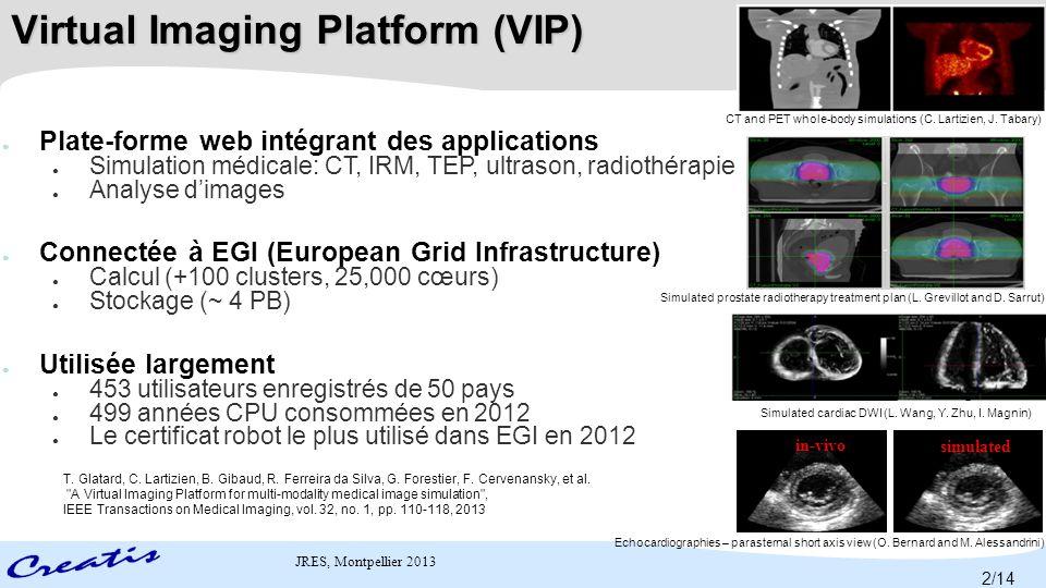 JRES, Montpellier 2013 Un portail web pour l'exécution des applications d'imagerie médicale sur grilles de calcul Launch applications Transfer files http://vip.creatis.insa-lyon.fr Virtual Imaging Platform (VIP) 3/14