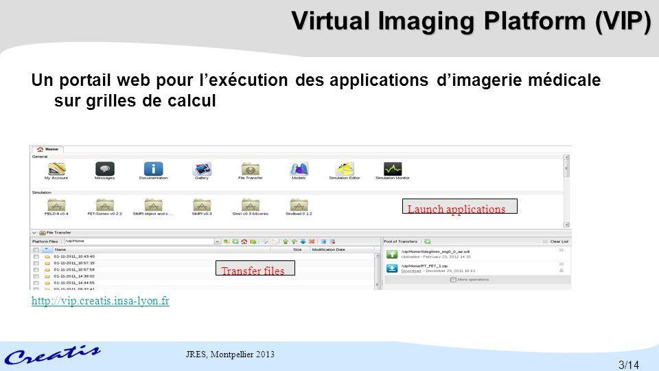 JRES, Montpellier 2013 GATE-Lab Applet Java intégrée dans VIP Dédiée aux simulations GATE Fonctionnalités Détection des entrées à partir du fichier principal de configuration de GATE Upload automatique des entrées Choix du nombre de tâches parallèles en fonction du temps CPU estimé 4/14