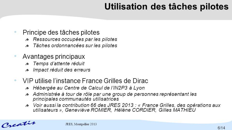 JRES, Montpellier 2013Défis Latence Re-soumission des tâches échouées Hétérogénéité (durée d'exécution très variable pour un même calcul) Jobs 7/14