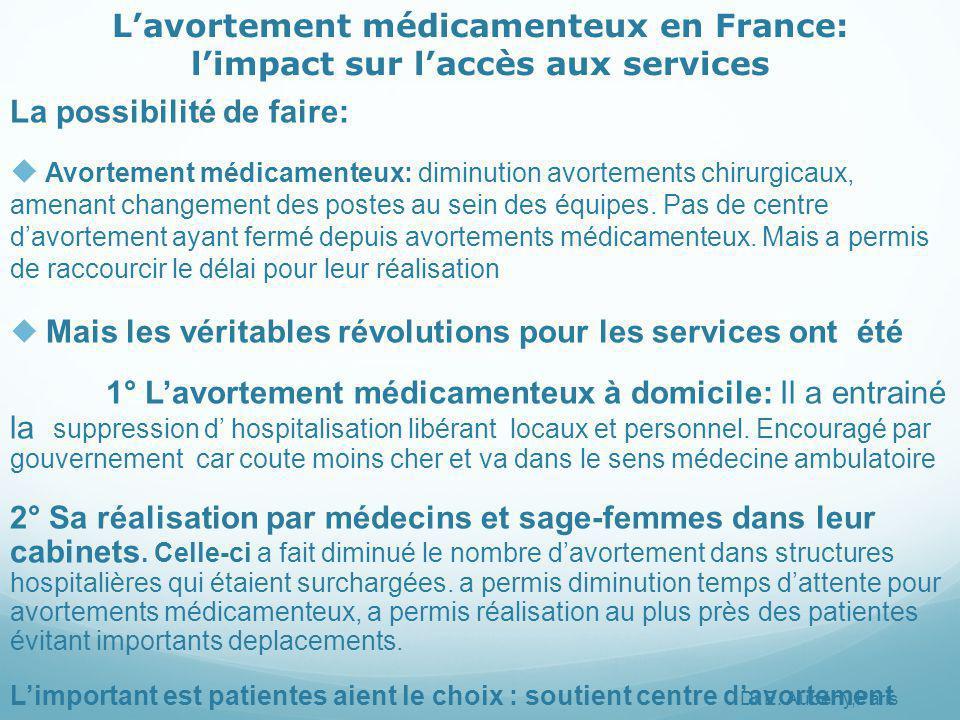 L'avortement médicamenteux en France: l'impact sur l'accès aux services La possibilité de faire:  Avortement médicamenteux: diminution avortements chirurgicaux, amenant changement des postes au sein des équipes.