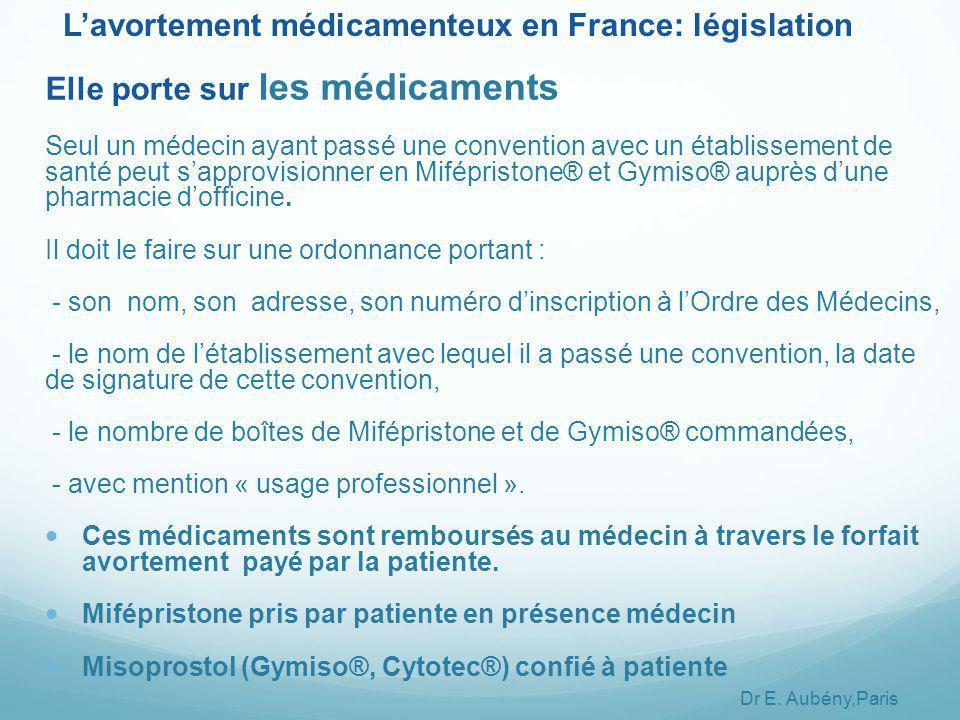 Elle porte sur les médicaments Seul un médecin ayant passé une convention avec un établissement de santé peut s'approvisionner en Mifépristone® et Gymiso® auprès d'une pharmacie d'officine.