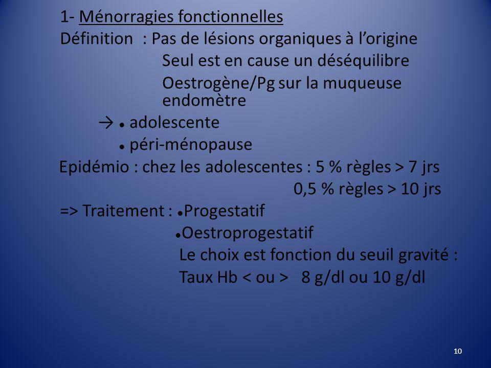 1- Ménorragies fonctionnelles Définition : Pas de lésions organiques à l'origine Seul est en cause un déséquilibre Oestrogène/Pg sur la muqueuse endomètre → ● adolescente ● péri-ménopause Epidémio : chez les adolescentes : 5 % règles > 7 jrs 0,5 % règles > 10 jrs => Traitement : ● Progestatif ● Oestroprogestatif Le choix est fonction du seuil gravité : Taux Hb 8 g/dl ou 10 g/dl 10