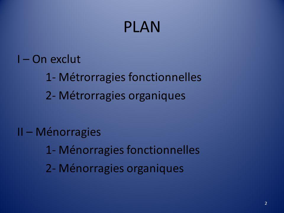 PLAN I – On exclut 1- Métrorragies fonctionnelles 2- Métrorragies organiques II – Ménorragies 1- Ménorragies fonctionnelles 2- Ménorragies organiques 2